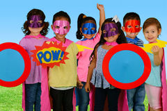 Child Superheroes. Group of children who are dressed up as superheroes Stock Images
