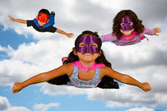 Child Superheroes. Group of children who are dressed up as superheroes Royalty Free Stock Photography