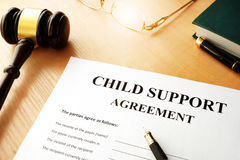 Child support agreement. Document with the name child support agreement Stock Images