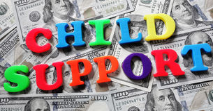 Child support letters and cash Stock Images