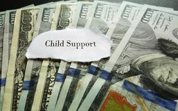 Child Support payment. Closeup of hundred dollar bills with Child Support note Stock Image