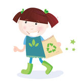 Child support recycling. Small child holding paper bag with recycle symbol. Vector Illustration Stock Photography