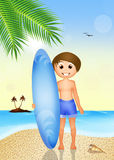 Child with surf on the beach Stock Image