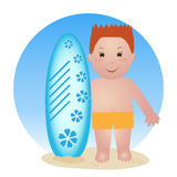 Child with surfboard Stock Photos
