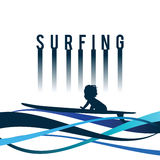 Child surfing icon in blue color illustration Royalty Free Stock Photos