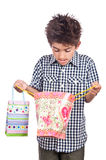 Child surprise shopping present bag Royalty Free Stock Images