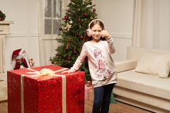 Child is surprised by big red gift for  new year Royalty Free Stock Photos