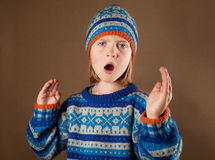 Child sweater angy hat boy Stock Images