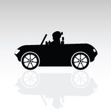 Child sweet drive car silhouette illustration Stock Images