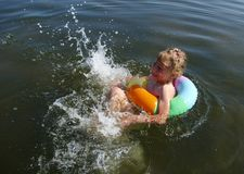 Child swiming. Child swiming in the sea Stock Photography
