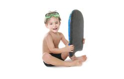 Child with swimming board over white Stock Images