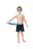 Child with swimming board over white Royalty Free Stock Image