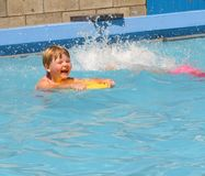 Child in swimming pool. Child having fun in swimming pool Stock Images
