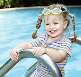 Child swimming in pool. Royalty Free Stock Images