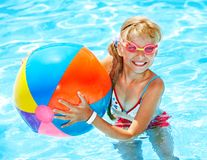 Child swimming in pool. Royalty Free Stock Photos