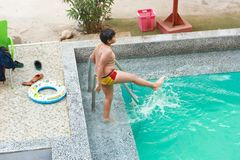 Child at swimming Pool. Child swimming at Pool Countryside of Egypt park with Pool stock images