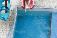 Child swimming at Pool. Countryside of Egypt park with Pool stock images