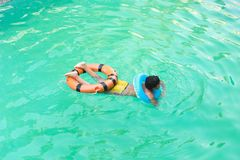 Child at swimming Pool. Child swimming at Pool Countryside of Egypt park with Pool stock image