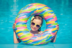 Child in swimming pool Stock Photo