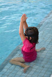 Child swimming pool lesson. Child during swimming pool lesson Royalty Free Stock Images