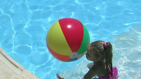 Child swimming in pool stock footage