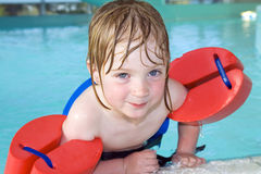 Child swimming pool portrait Stock Photography