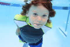 Child Swimming in Pool Underwater Stock Photography