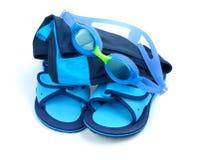 Child Swimming Set. Blue childish swimming set isolated over white background royalty free stock photo