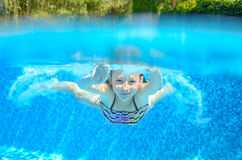 Child swims in pool underwater Stock Image