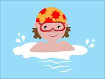 The child swims in the water stock illustration