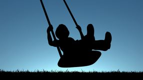 Child on Swing. Illustration of a young child playing on a swing Stock Photography