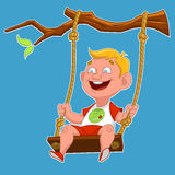 Child on a swing. Vector illustration Stock Photo