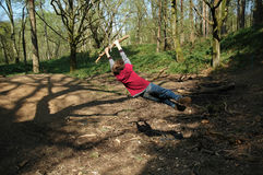 Child on swing in woods Stock Image