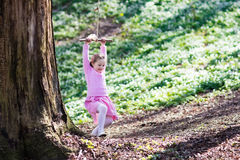 Child swinging on tree rope swing Stock Images
