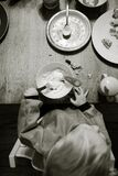 Child at table with dishes
