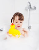 Child taking a bath Stock Photo