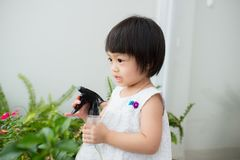 Child taking care of plants. Cute little girl watering first spr Royalty Free Stock Photography