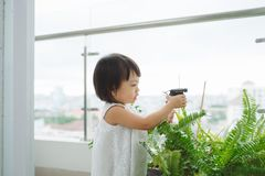 Child taking care of plants. Cute little girl watering first spr Stock Photo