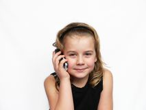 Child talk phone Stock Images