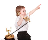 Child talk on telephone. Stock Image