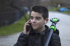 Child talking on the phone Royalty Free Stock Photo