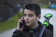 Child talking on the phone Stock Photos