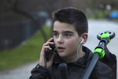 Child talking on the phone Stock Photography