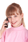 Child talking by telephone. Royalty Free Stock Photos