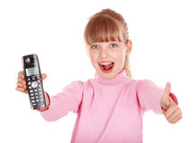 Child talking by telephone. Royalty Free Stock Images