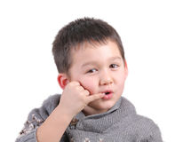 Child talks with his hand as telephone Stock Image