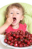 Child tastes cherry Stock Photos
