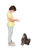 Child taught to obey his puppy. Isolated on white background royalty free stock images