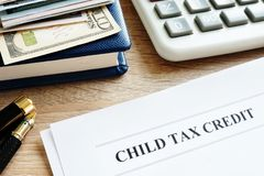 Child tax credit application in an office. royalty free stock images