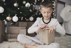 Cute little boy during Christmas Royalty Free Stock Image